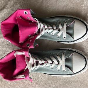 6d48b2c9c038 Converse Shoes - NWOT Pink   Gray High-Top